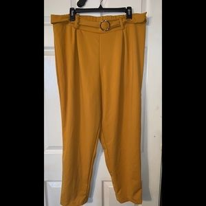 Rainbow mustard high-waisted pants